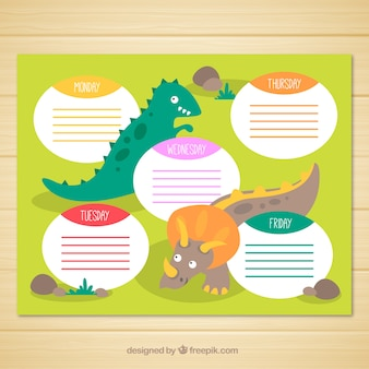 Wekkly planner with flat dinosaurs