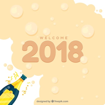 Welcome 2018 background with champagne foam