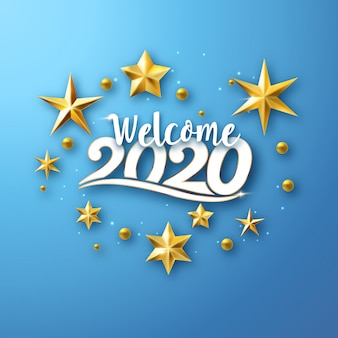 Welcome 2020 - new year greeting card with stars