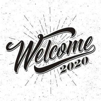 Welcome 2020 on sunburst background