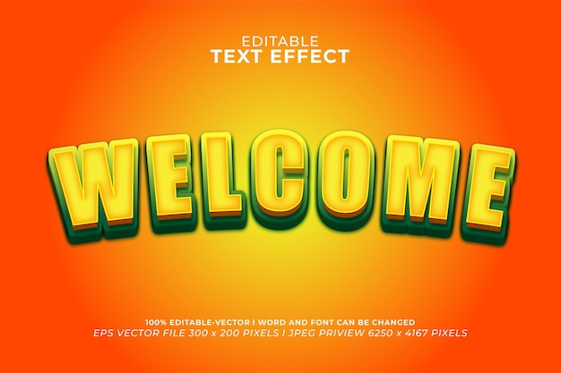 Welcome 3d text effect