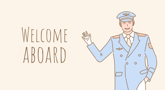 Welcome aboard banner design. pilot welcoming you to the airplane outline poster design.