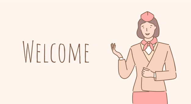 Welcome aboard banner design. stewardess welcoming you to the airplane outline poster design.