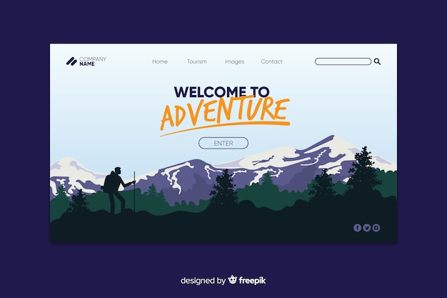 Welcome to adventure landing page