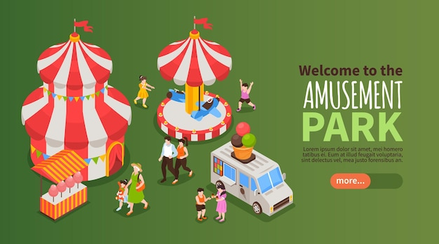 Welcome to amusement park horizontal banner with carousel and circus