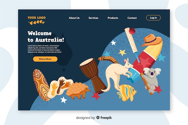 Welcome to australia colorful landing page