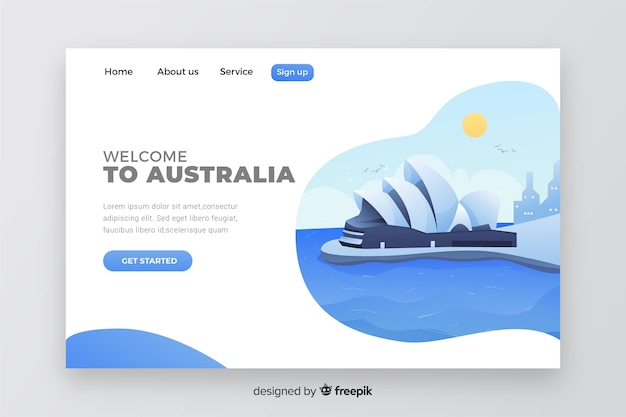 Welcome to australia landing page