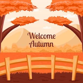Добро пожаловать в осенний фон с иллюстрацией сельской местности