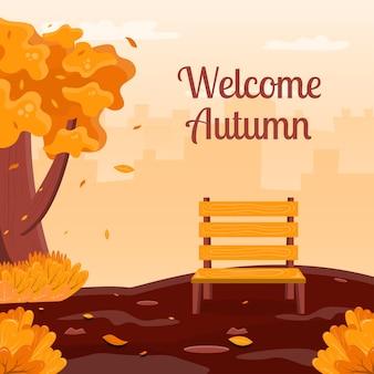 Добро пожаловать осень концепция фона с иллюстрацией парка