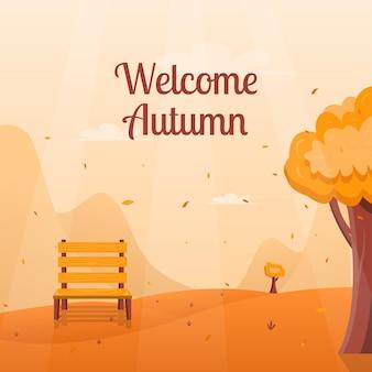Добро пожаловать осень фон концепция