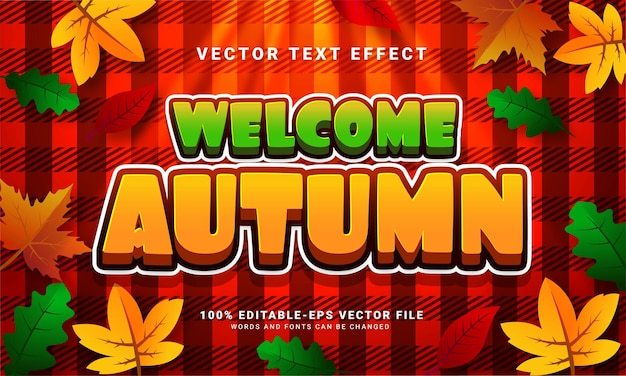 Welcome autumn 3d editable text effect suitable for autumn themed events