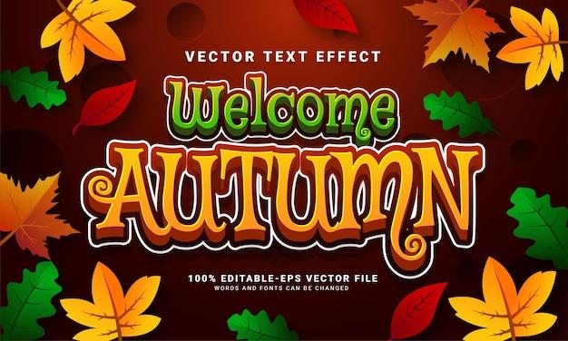 가을 테마 이벤트에 적합한 가을 3d 편집 가능한 텍스트 효과를 환영합니다.