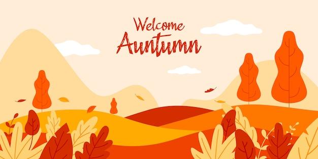 Welcome autumn flat illustration landscape
