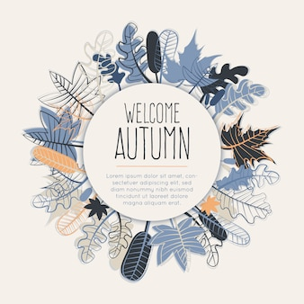 Welcome autumn frame with fall leaves