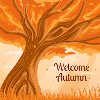 ようこそ秋のイラストツリーのコンセプト