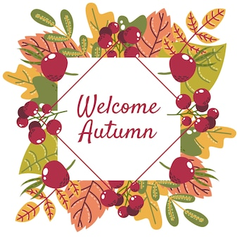 Welcome autumn leaves with border background