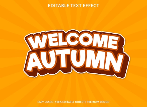 Welcome autumn text effect template premium style use for logo and brand