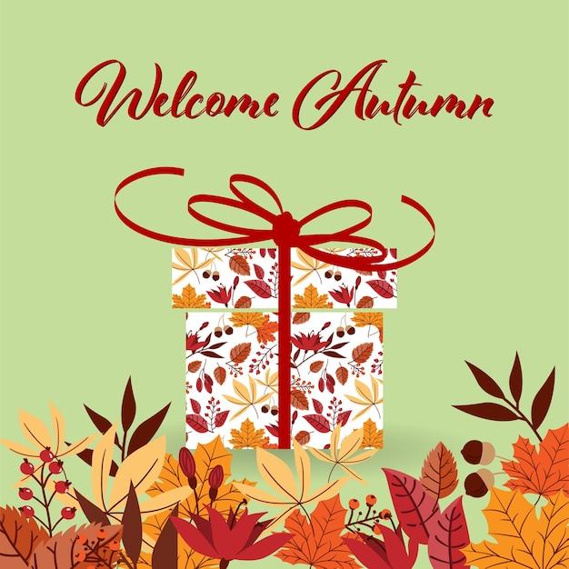 ようこそ秋のテキストと飾られたプレゼントボックス。