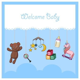 Welcome baby card with baby accessories and toys