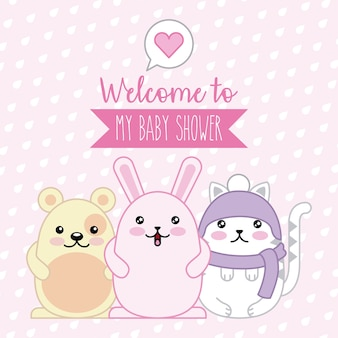 Welcome baby shower poster animals kawaii cartoon