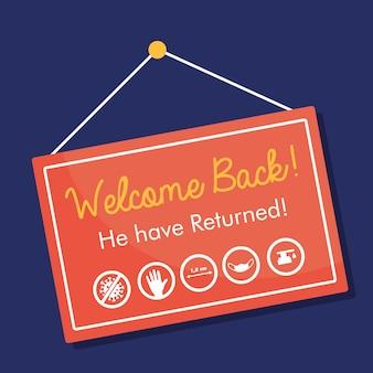 Добро пожаловать обратно, открывая висящий знак