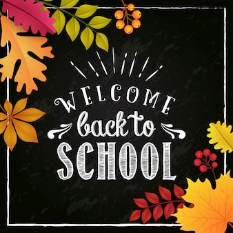 Welcome back to school in autumn season poster design