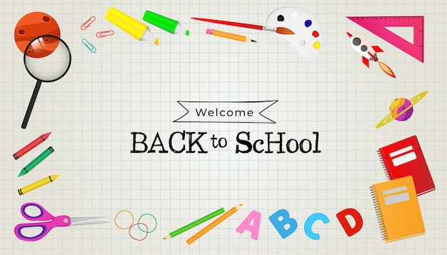 Welcome back to school background with school equipments ready for study