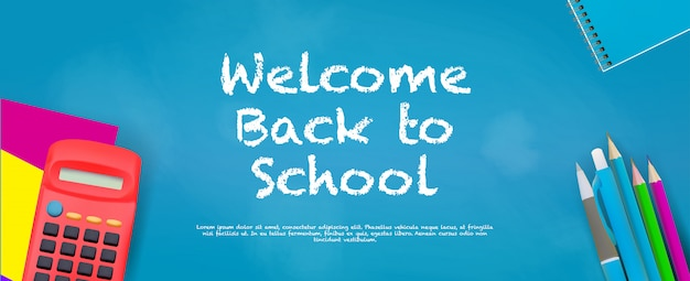 Welcome back to school banner template with realistic backpack and chalkboard background.