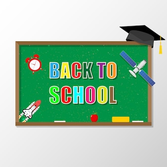 Welcome back to school blackboard with school items and elements