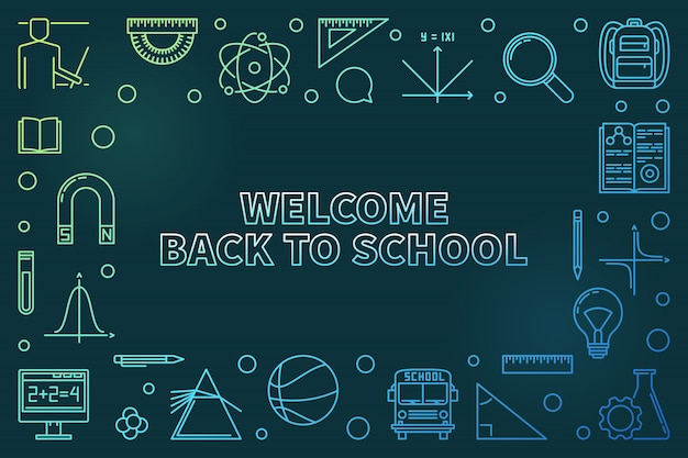 Welcome back to school colorful linear icon illustration