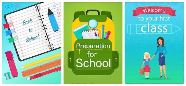 Welcome back to school concept templates