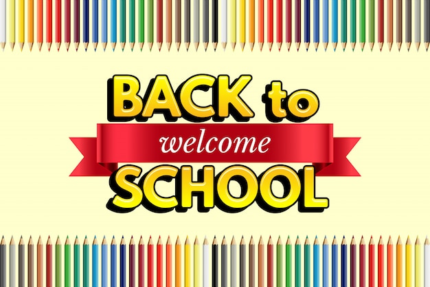 Welcome back to school design template, red ribbon with welcome word, back to school text and color pencils