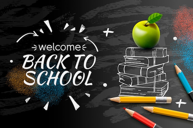 Welcome back to school doodle on black chalkboard background,.