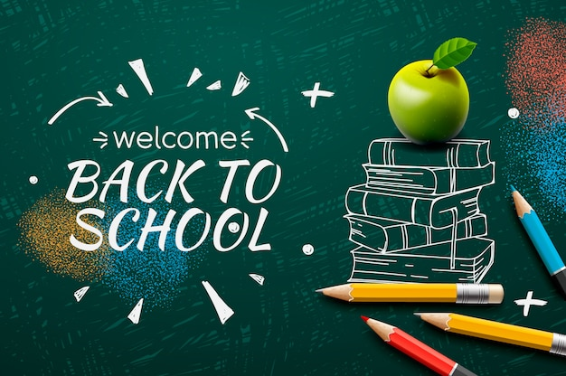 Welcome back to school, doodle on chalkboard background,.