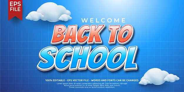 Welcome back to school editable text style