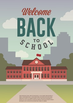Welcome back to school. flat style retro poster, flyer, banner.