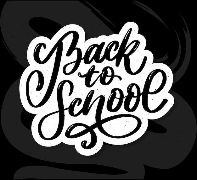 Welcome back to school hand brush lettering, on notepad crumpled paper background, with black thick backdrop.  illustration.