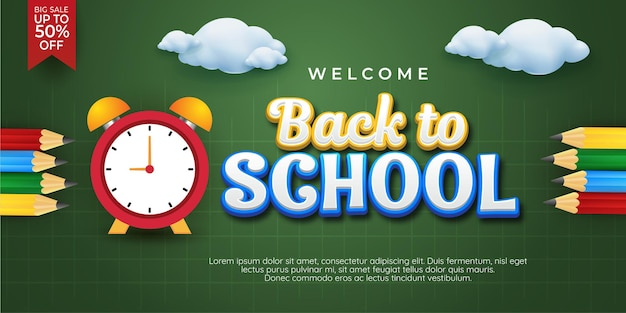 Welcome back to school horizontal banners
