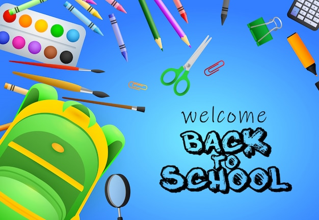 Welcome back to school lettering, paint brushes, scissors