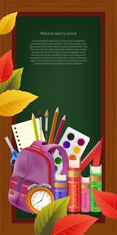 Welcome back to school lettering and sample text in frame