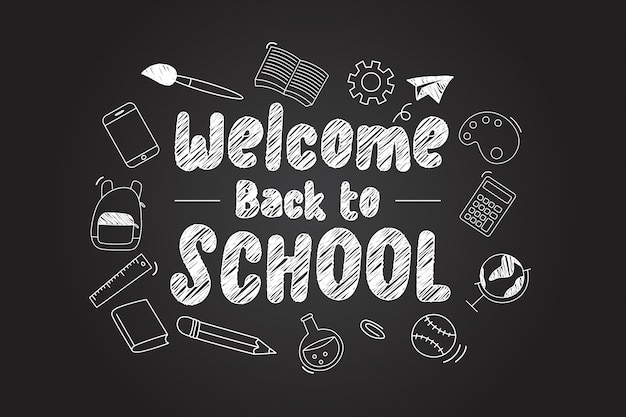 Welcome back to school lettering with scholl icons
