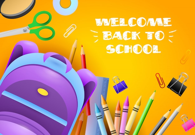 Welcome back to school lettering with stationery and backpack