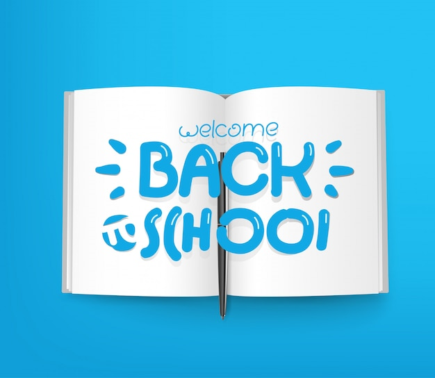 Welcome back to school, paper book with different line icons
