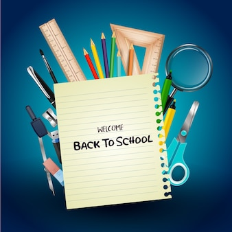 Welcome back to school poster with realistic school supplies