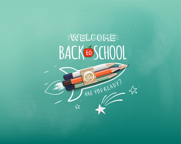 Welcome back to school. rocket ship launch made with colour pencils. welcome back to school banner. illustration