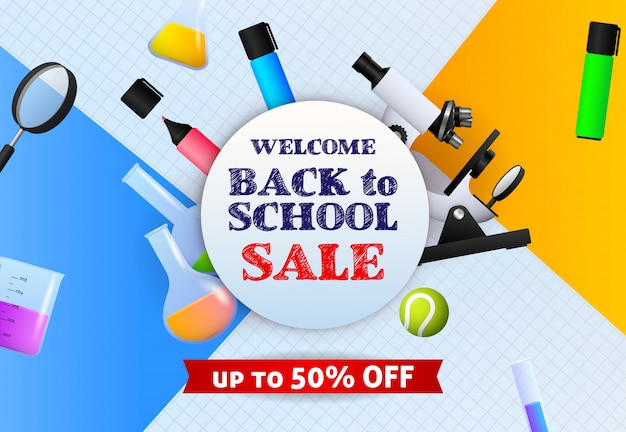 Welcome back to school sale banner de sign with marker pens, microscope