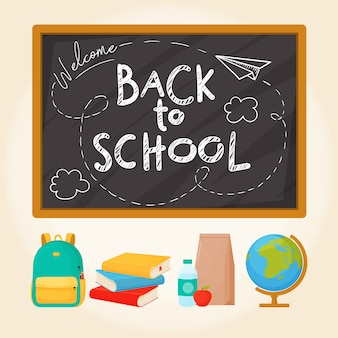 Welcome back to school. set of different school supplies, school board and lettering. illustration