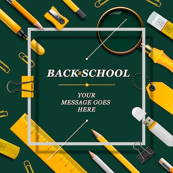 Welcome back to school template with yellow schools supplies, green background,