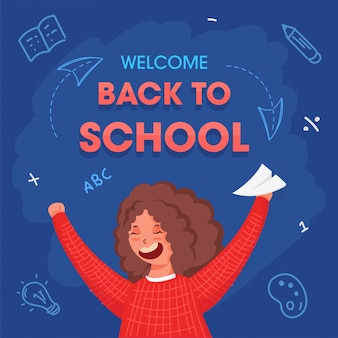 Welcome back to school text with cheerful girl holding paper plane on blue background. advertising poster .