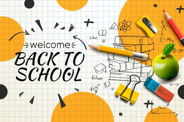 Welcome back to school web banner, doodle on checkered paper background,  illustration.